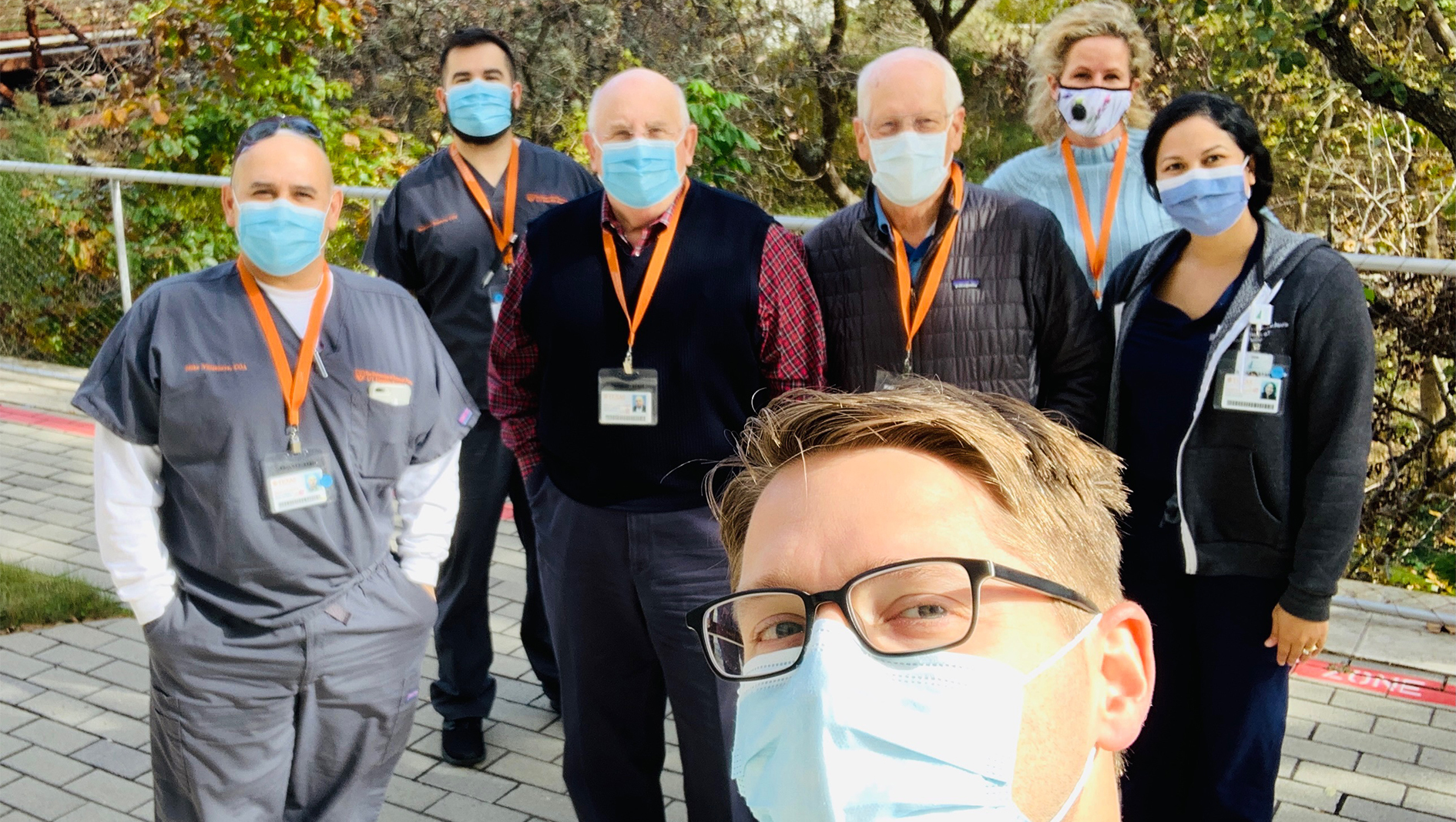 Seven members of the Ophthalmology Residency in an outdoor group photo.