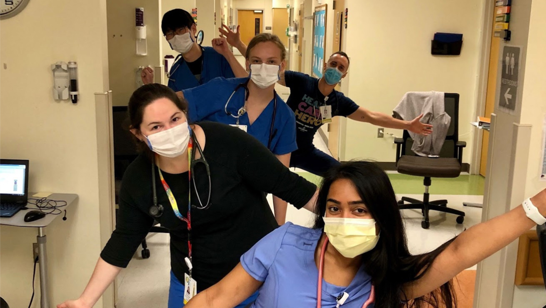 A group of pediatrics residents having fun at work.