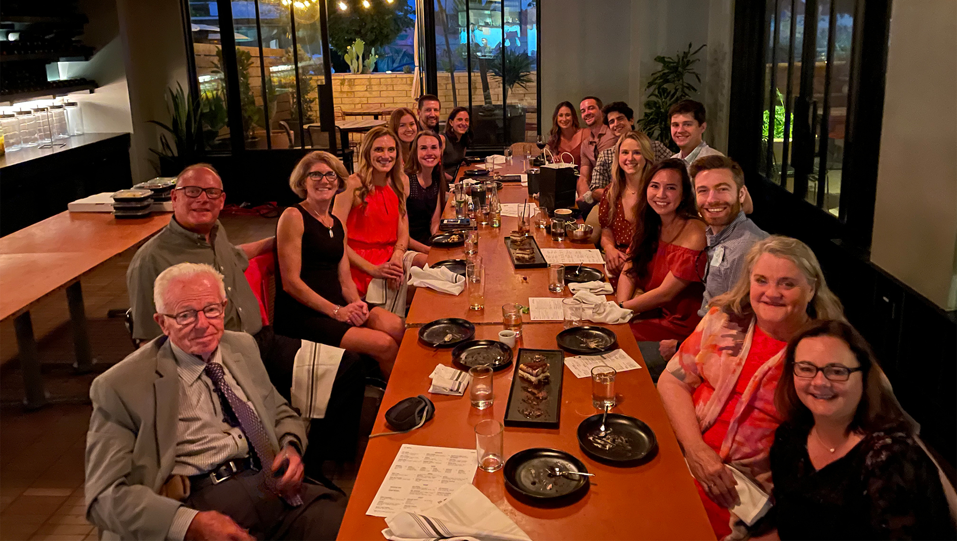 Members of the Transitional Residency at a dinner together