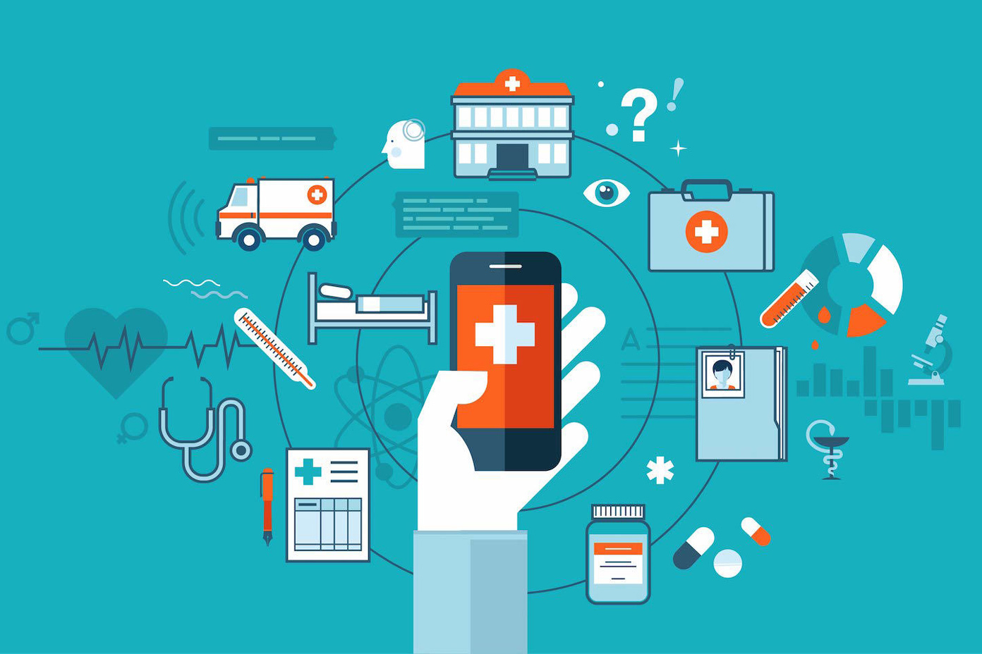 Illustration of a hand holding a phone with health-related icons floating around it.