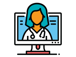 Image of doctor on computer screen. Illustration.