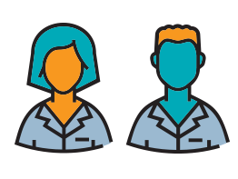 Male and female doctors. Illustration.