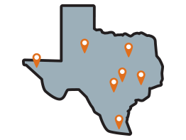 Texas with pindrops. Illustration.