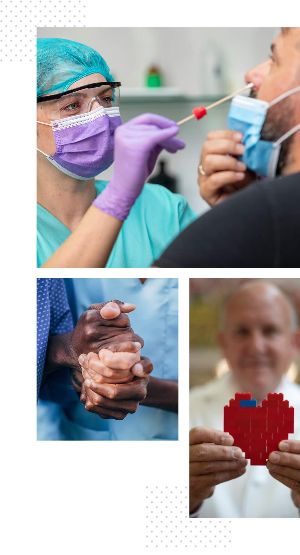 Collage of a health care worker conducting a nasal swab, two clasped hands and a man holding a heart made of Lego bricks.