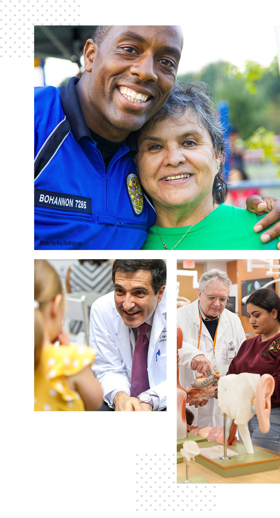 Collage of a photo of a security officer with a woman, a photo of a doctor with a patient and a third of a doctor with a medical student.