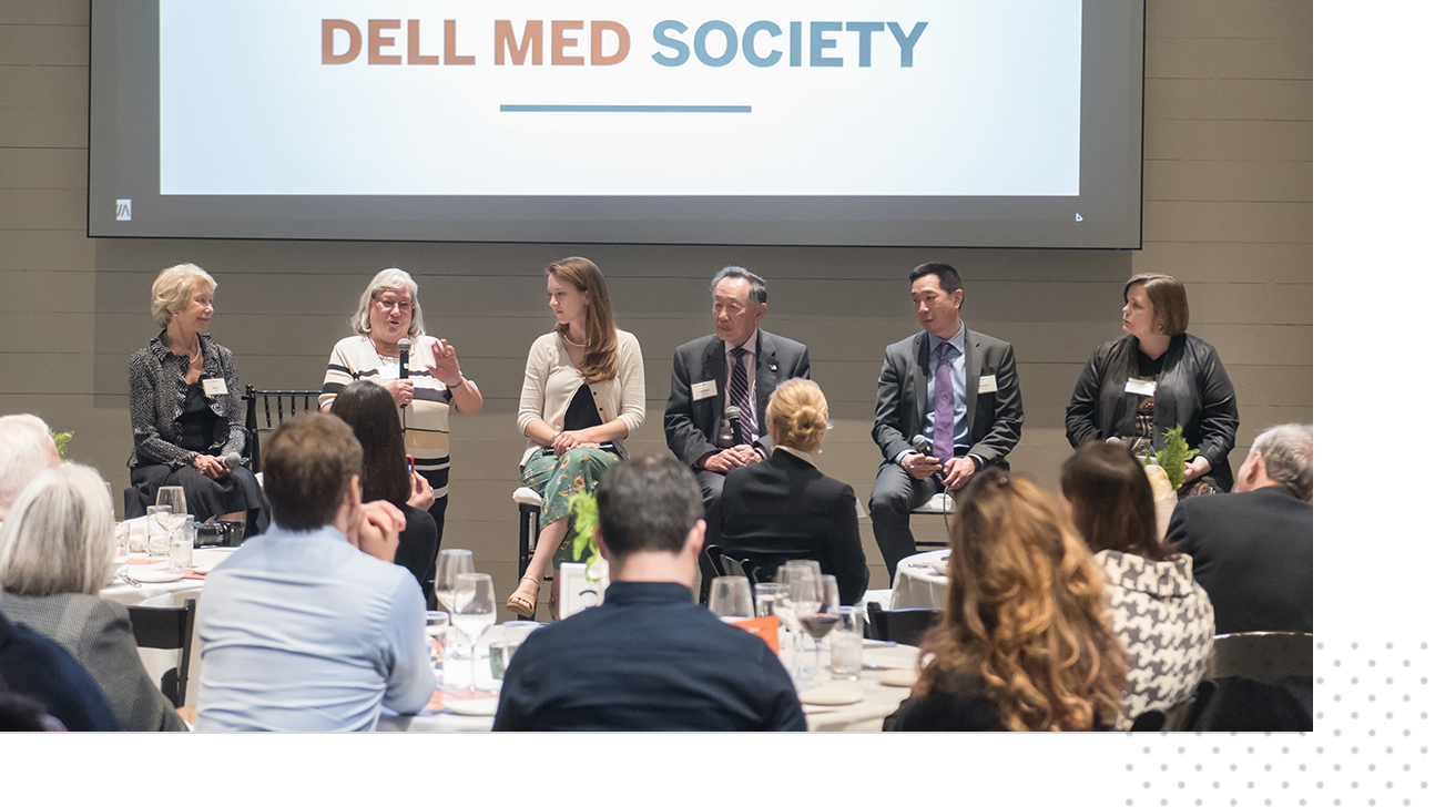 Sue Cox and other presenters at a Dell Med Society event.