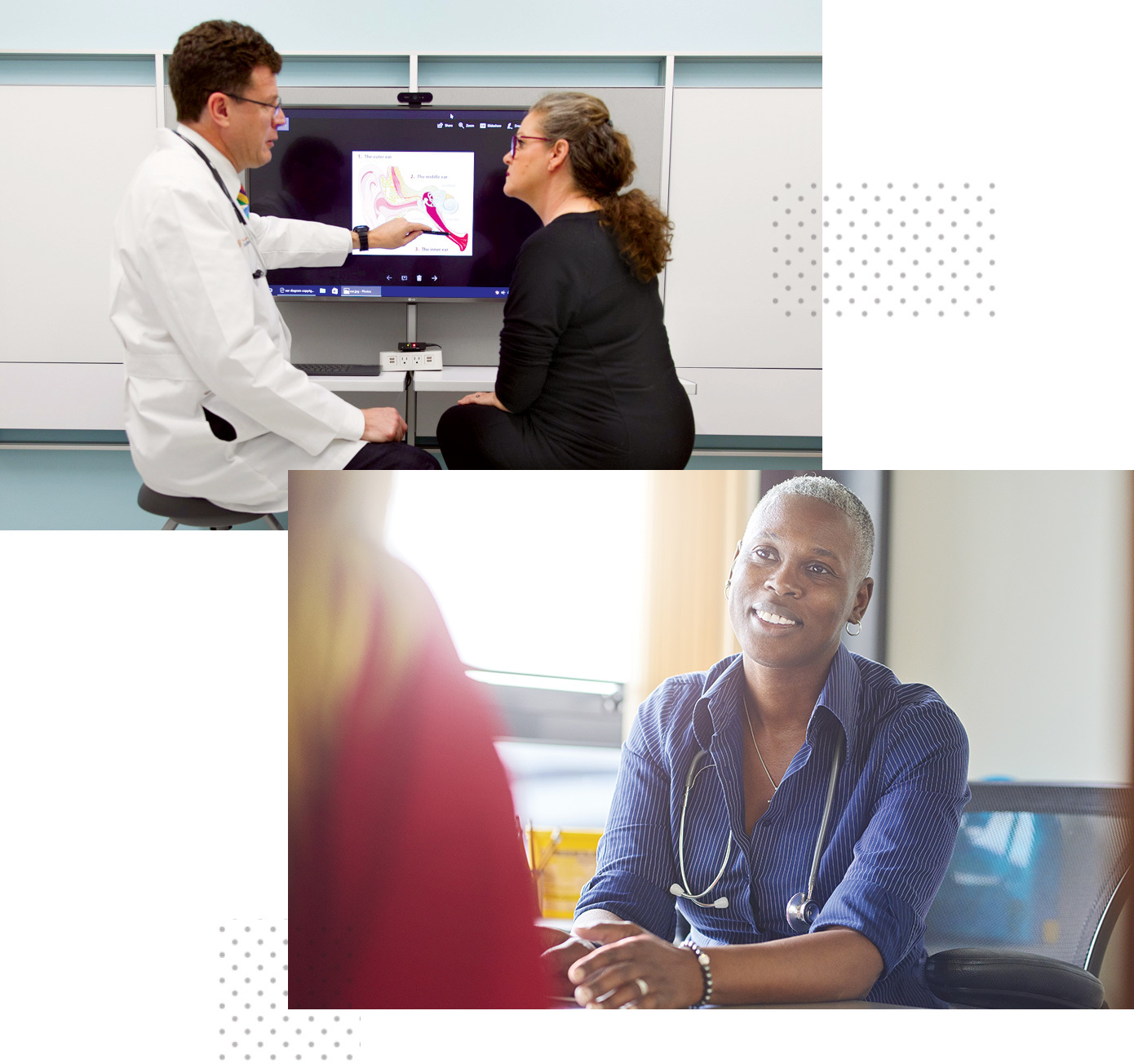 A physician explaining a medical image to a patient.