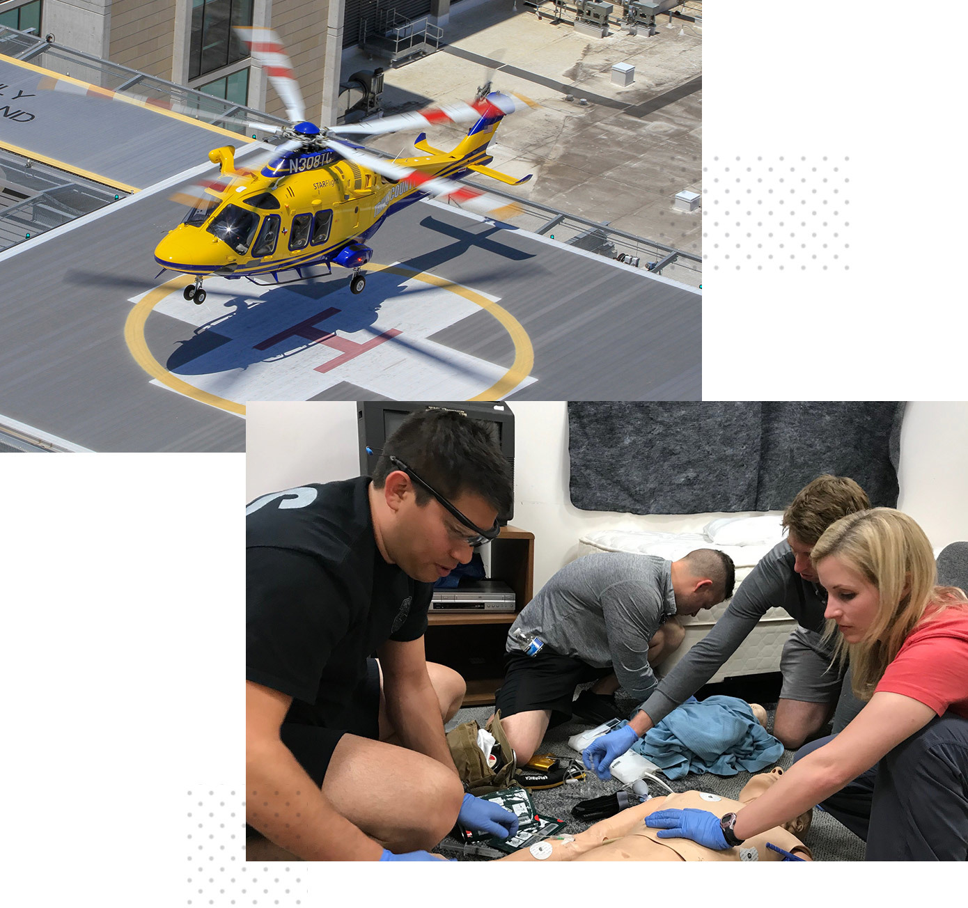 A collage of the STAR Flight helicopter landing at a hospital and another photo of EMS physicians training on a dummy.