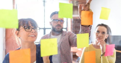Group of employees brainstorming with sticky notes