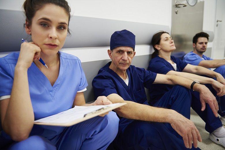 Tired nurses take a break
