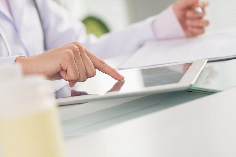 Nurse on tablet
