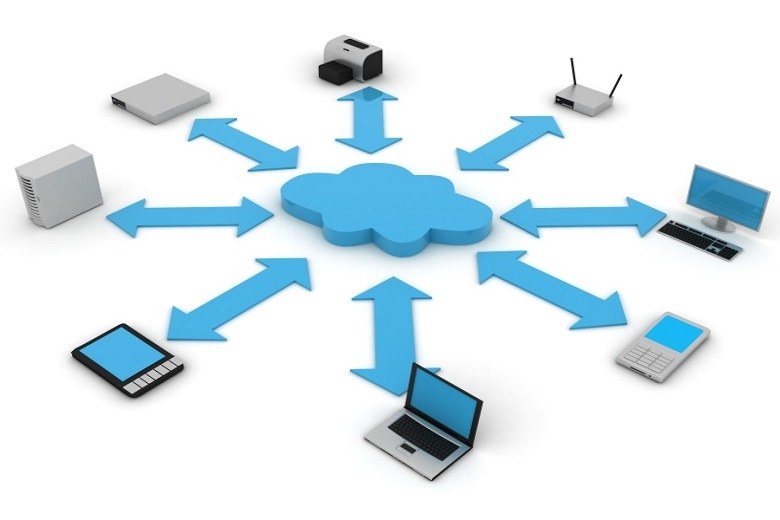 IT devices connected to a cloud icon