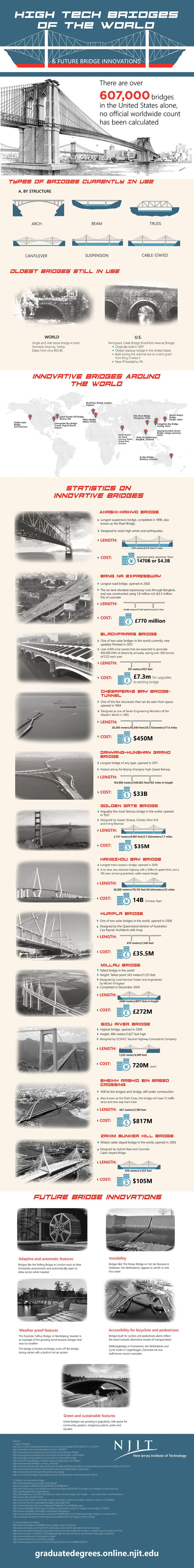 Infographic high tech bridges of the future