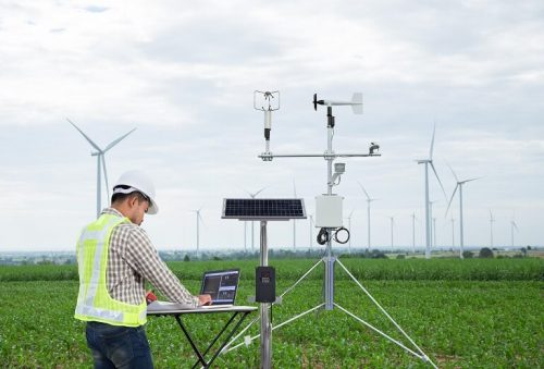 Engineer working on windmills