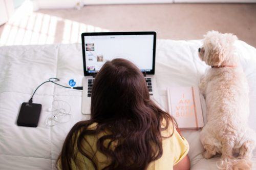 A woman uses her laptop on her bed with her dog.