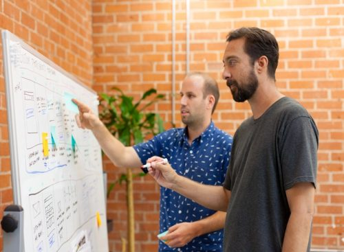 Two men look at a whiteboard full of notes.