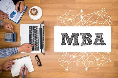 """""""MBA"""" next to an above-view of people working at a table."""