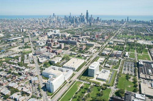 Aerial shot of UIC's campus