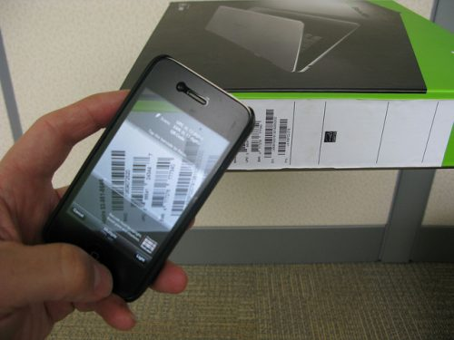 smart phone scanning a barcode