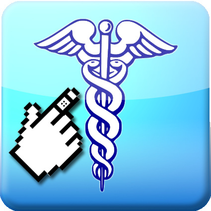 Finger pointing at medical symbol