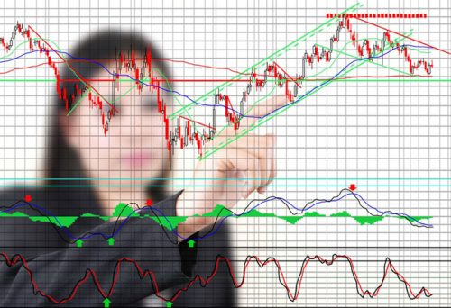 Person reviewing charts and trend lines