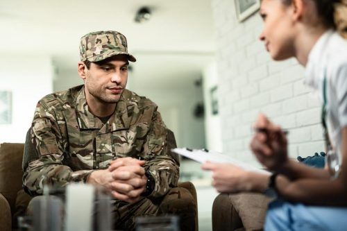 A veteran meets with a counselor.