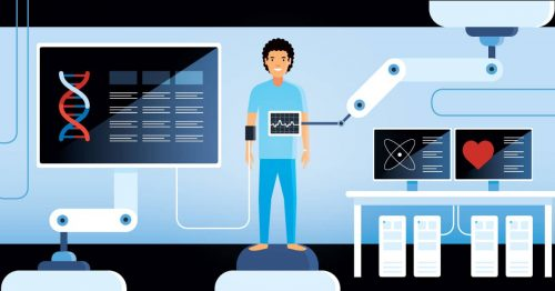 A medical patient surrounded by healthcare technology, including a surgical robot, wearable tech and genome sequencing.
