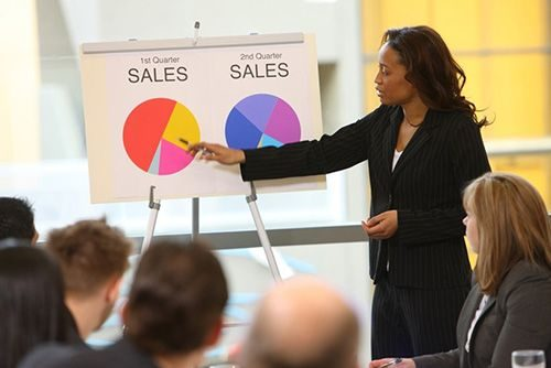 woman delivering presentation