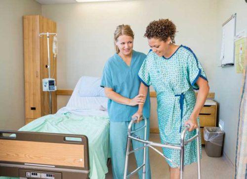 Nurse helps patient