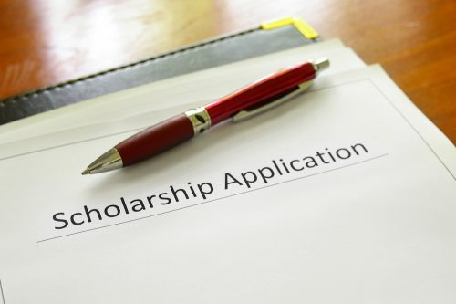 A scholarship application waits to be filled out.