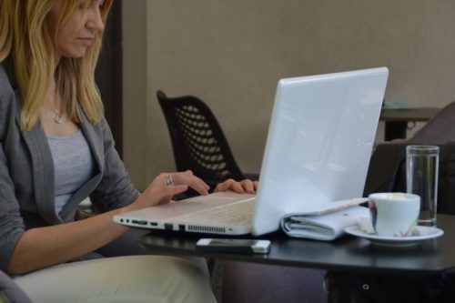 Woman learning on a laptop