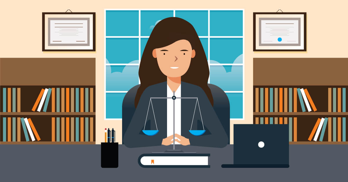 A school principal with the scales of justice on her desk.