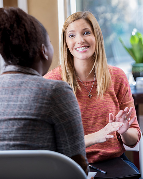 Women conversing