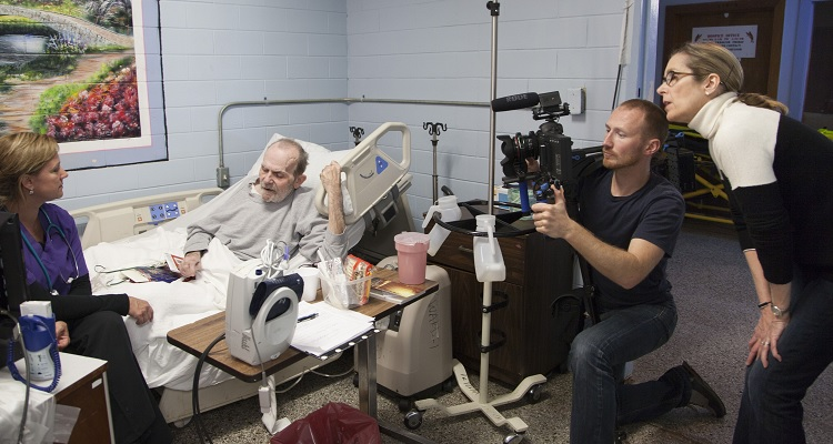 Director Carolyn Jones and Cinematographer Jaka Vinsek capture the scene as Tonia talks to one of her high-security hospice patients at the Louisiana State Penitentiary