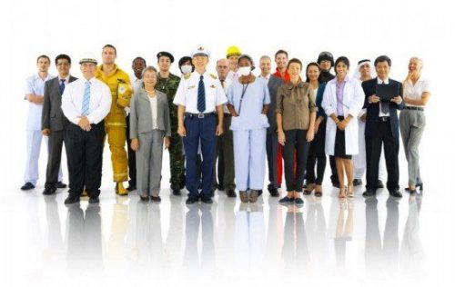 Large group of people illustrating different roles of safety professionals