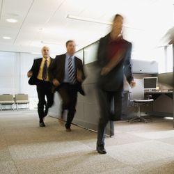 Office workers evacuating