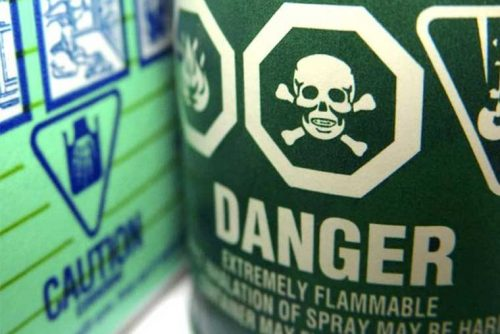 Up-close of a caution label saying Danger