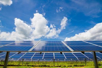Solar panels capturing energy.