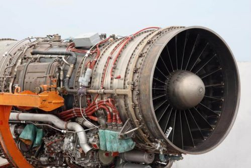 The working parts that make up an airplane engine
