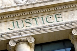 Federal court system justice sign