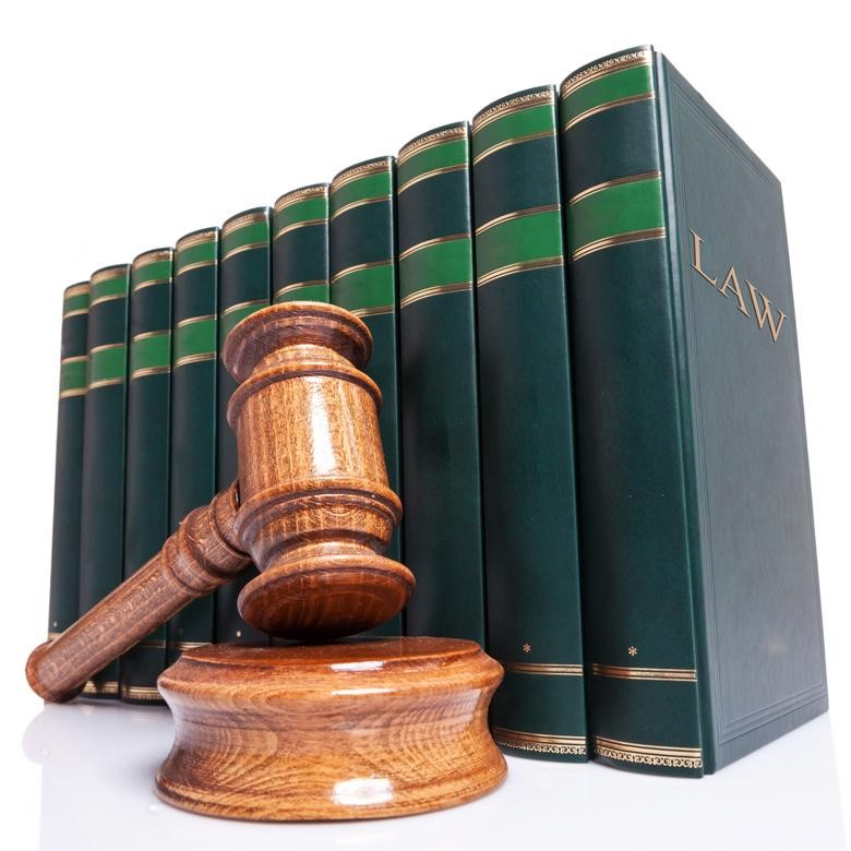 Law books and a gavel