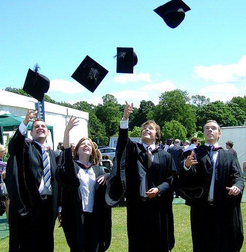 A group of graduates celebrate