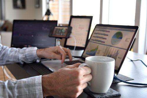 A researcher reviews data