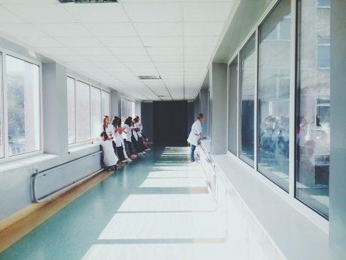 Nurses is hospital corridor