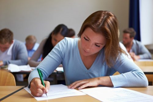 A student completes a GRE exam