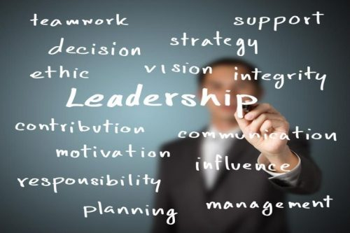 """""""Leadership"""" word cloud imposed upon a picture of a man in a suit."""