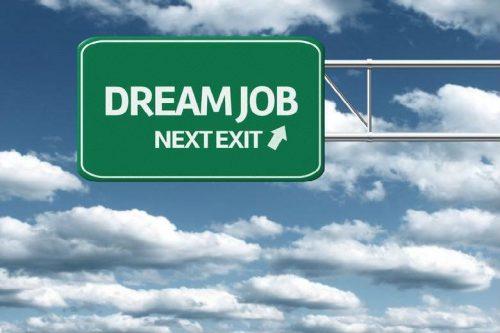 """Road sign saying """"Dream Job: Next Exit."""""""