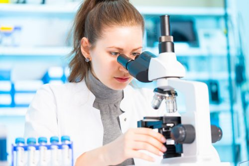 (Image 1) An epidemiologist looks into a microscope