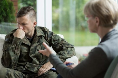 Veteran at a counseling session