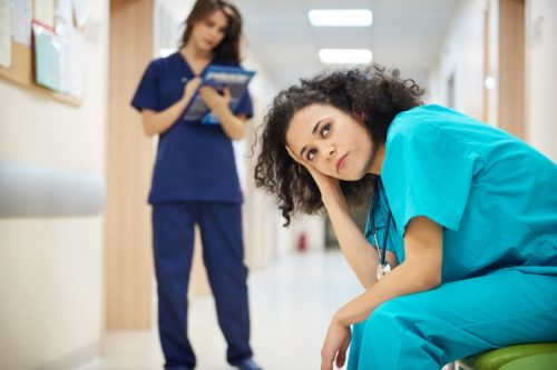 Nurses dealing with stress on the job